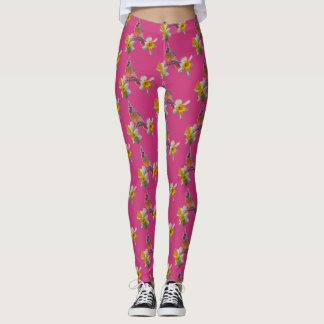 Cardinal And Flowers on Pink - Leggings