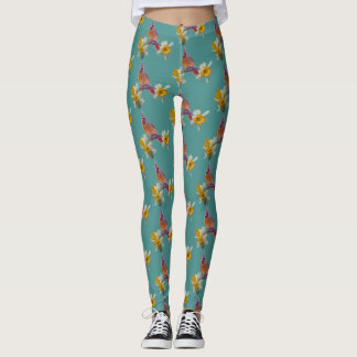 Cardinal And Flowers on Turquoise - Leggings