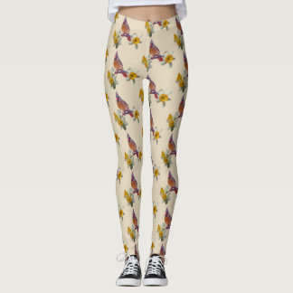 Cardinal and Flowers on Vanilla - Leggings