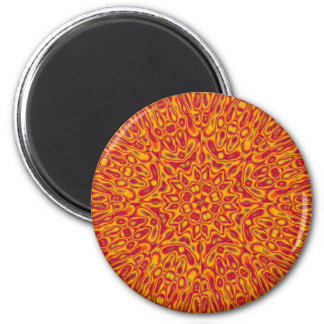 Cardinal and Gold Abstract Flower Refrigerator Magnet