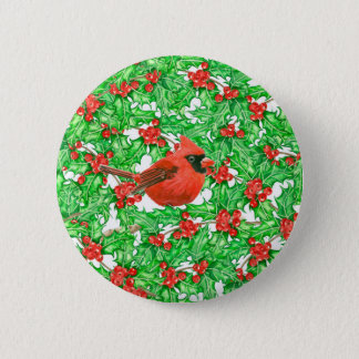 Cardinal and holly berry watercolor pattern 2 inch round button