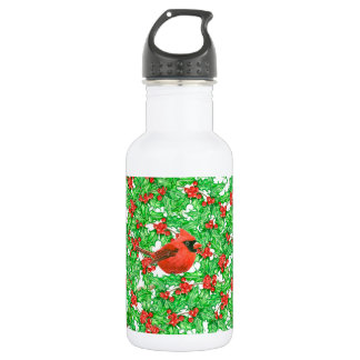 Cardinal and holly berry watercolor pattern 532 ml water bottle