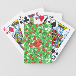 Cardinal and holly berry watercolor pattern bicycle playing cards
