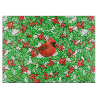 Cardinal and holly berry watercolor pattern boards