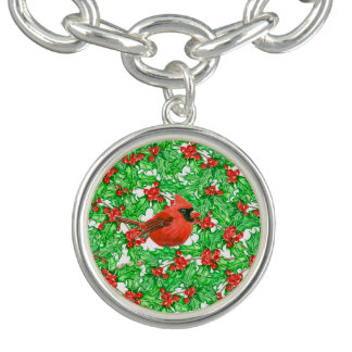 Cardinal and holly berry watercolor pattern bracelets