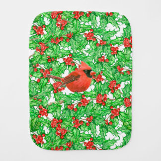 Cardinal and holly berry watercolor pattern burp cloth