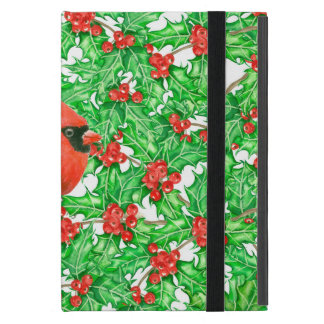 Cardinal and holly berry watercolor pattern iPad mini case