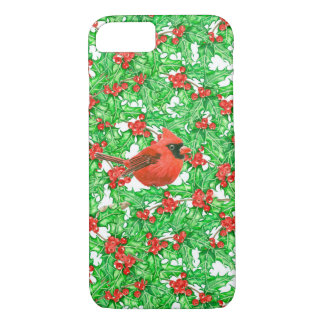 Cardinal and holly berry watercolor pattern iPhone 8/7 case