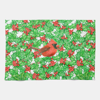 Cardinal and holly berry watercolor pattern kitchen towel