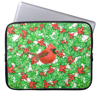 Cardinal and holly berry watercolor pattern laptop sleeve