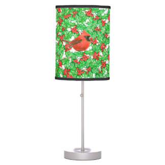 Cardinal and holly berry watercolor pattern table lamp