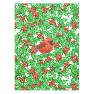 Cardinal and holly berry watercolor pattern tablecloth