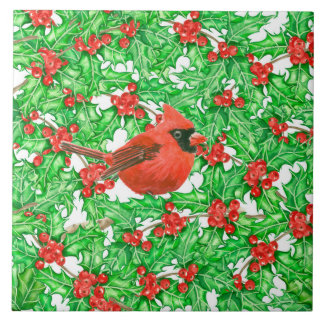 Cardinal and holly berry watercolor pattern tile