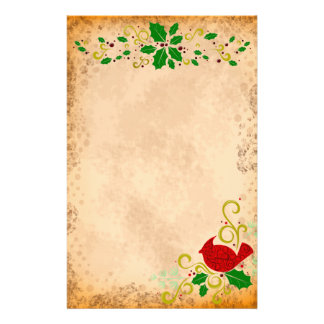 Cardinal and Holly Parchment Stationery