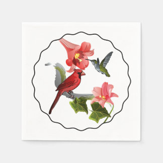 Cardinal and Hummingbird with Pink Lily and Ivy Paper Napkin