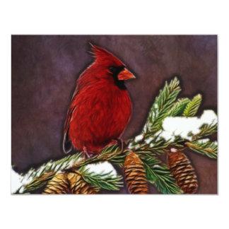 Cardinal and Pinecones Card