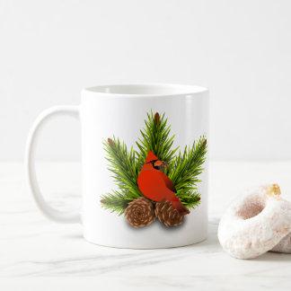 Cardinal and Pinecones Christmas Holiday Mug
