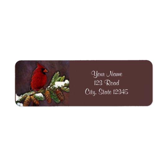 Cardinal and Pinecones Return Address Label