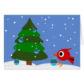 Cardinal And The Christmas Tree Holiday Cards