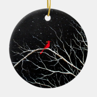 Cardinal at Night Ornament