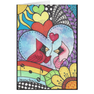 Cardinal bird in love art card