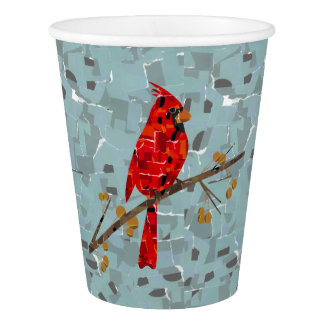 Cardinal bird of Christmas collage Paper Cup