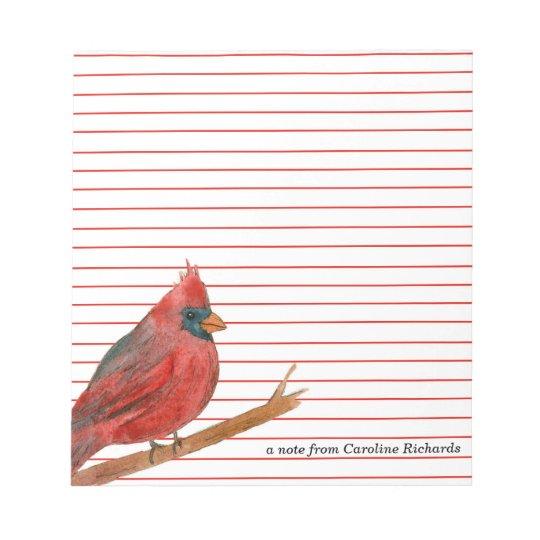 Cardinal Bird Red Lined Custom Name Notepad