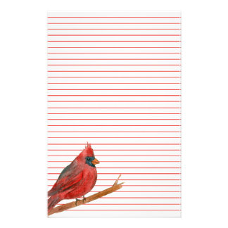 Cardinal Bird Red Lined Stationery