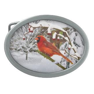 Cardinal Bird, Snow, Winter, Belt Buckle