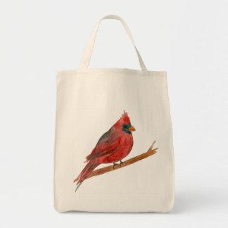 Cardinal Bird Watercolor Painting Wildlife Tote Bag