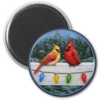 Cardinal Birds and Christmas Lights Magnet