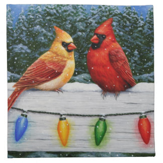 Cardinal Birds and Christmas Lights Napkin