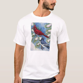 Cardinal & Blue Jay by Toni Donelow Stewart T-Shirt