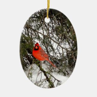Cardinal Ceramic Oval Ornament