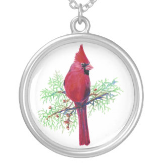 Cardinal Christmas Silver Plated Necklace