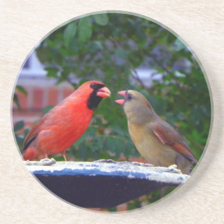 Cardinal Couple Eating Coaster
