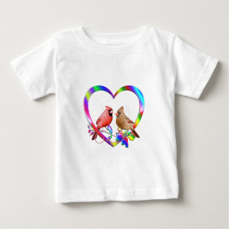 Cardinal Couple in Colorful Heart Baby T-Shirt