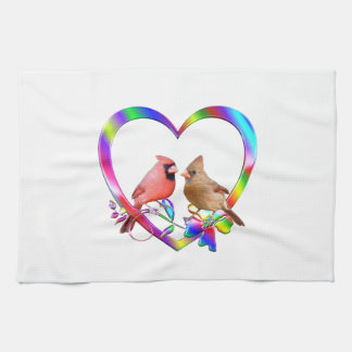 Cardinal Couple in Colorful Heart Kitchen Towel