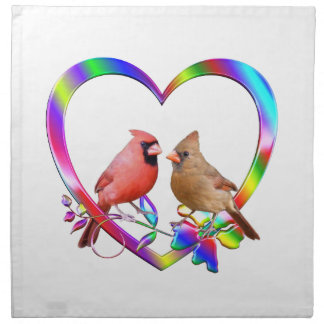 Cardinal Couple in Colorful Heart Napkin