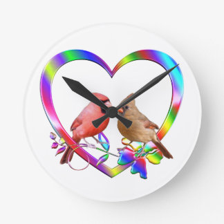 Cardinal Couple in Colorful Heart Round Clock
