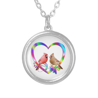 Cardinal Couple in Colorful Heart Silver Plated Necklace