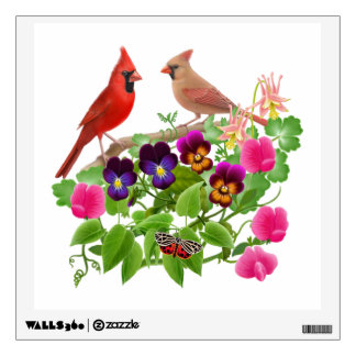 Cardinal Couple in Flower Garden Wall Decal