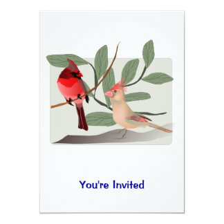 Cardinal Couple in the Tree Branches Card