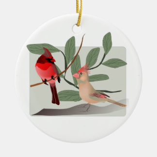 Cardinal Couple in the Tree Branches Ceramic Ornament