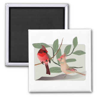 Cardinal Couple in the Tree Branches Magnet