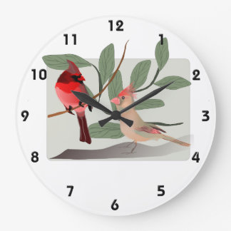 Cardinal Couple in the Tree Branches Wall Clock