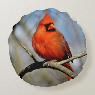 Cardinal Crest Round Pillow