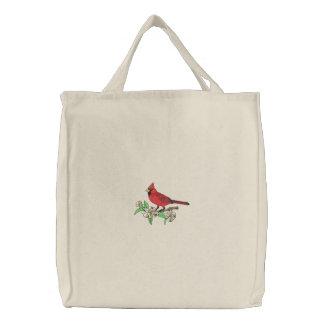 Cardinal et fleurs sacs de toile