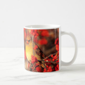 Cardinal female and red berries, IL Coffee Mug