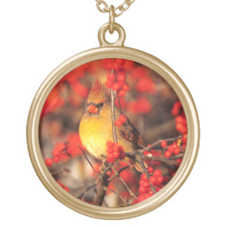 Cardinal female and red berries, IL Gold Plated Necklace